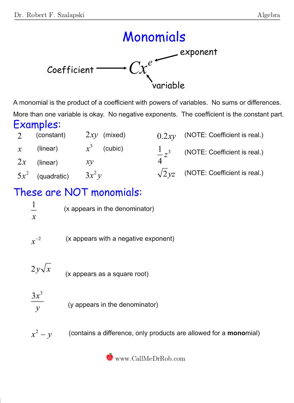 Monomials - page 1