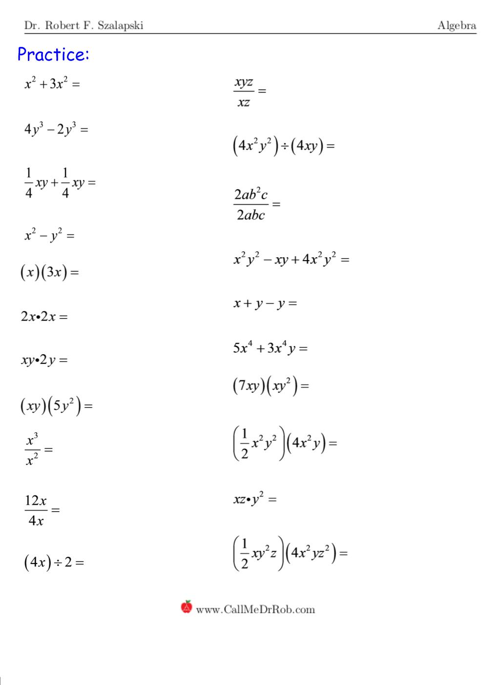 Monomials - page 6