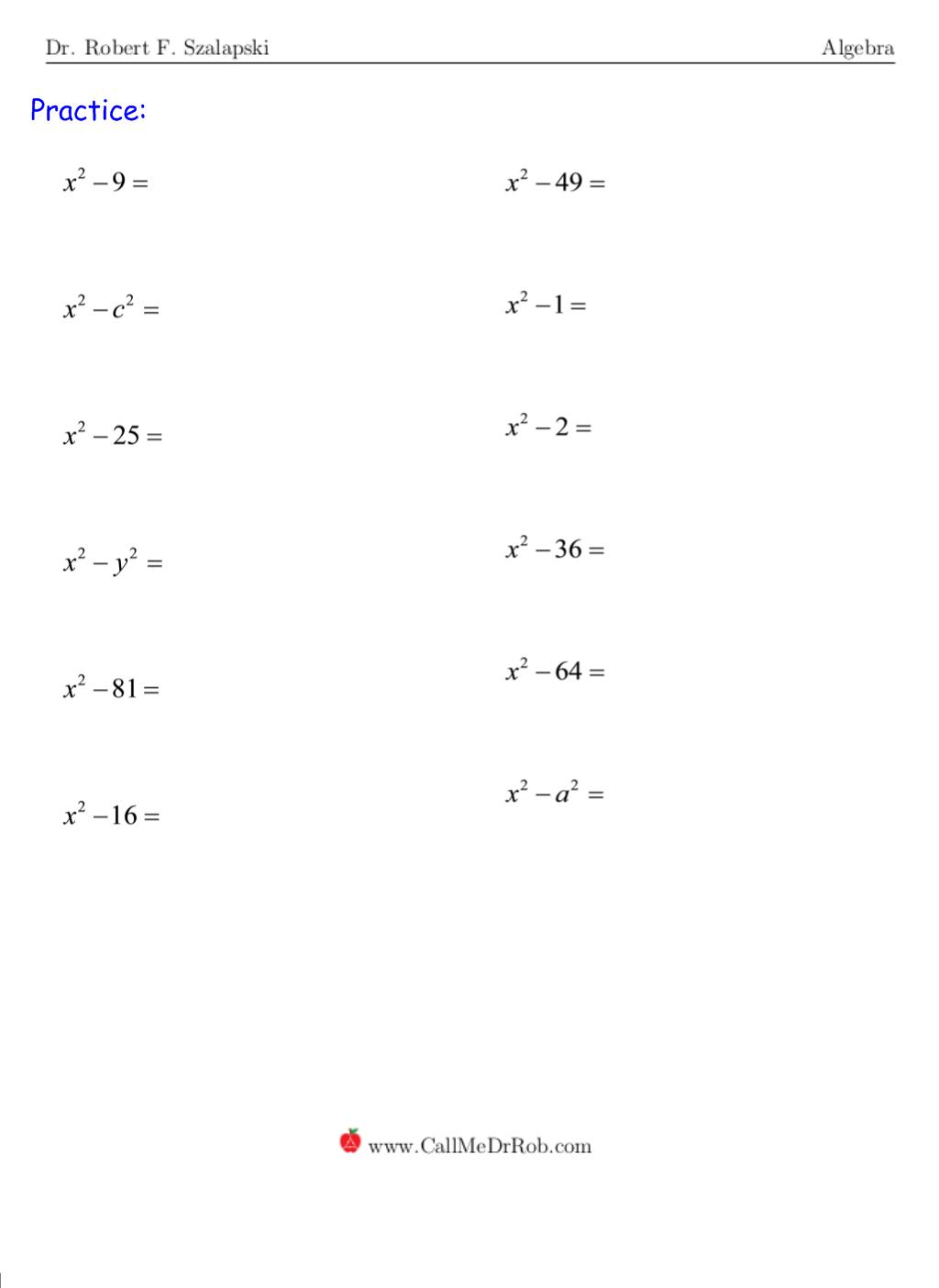 Factoring Difference Of Squares Worksheet Resultinfos Worksheet On