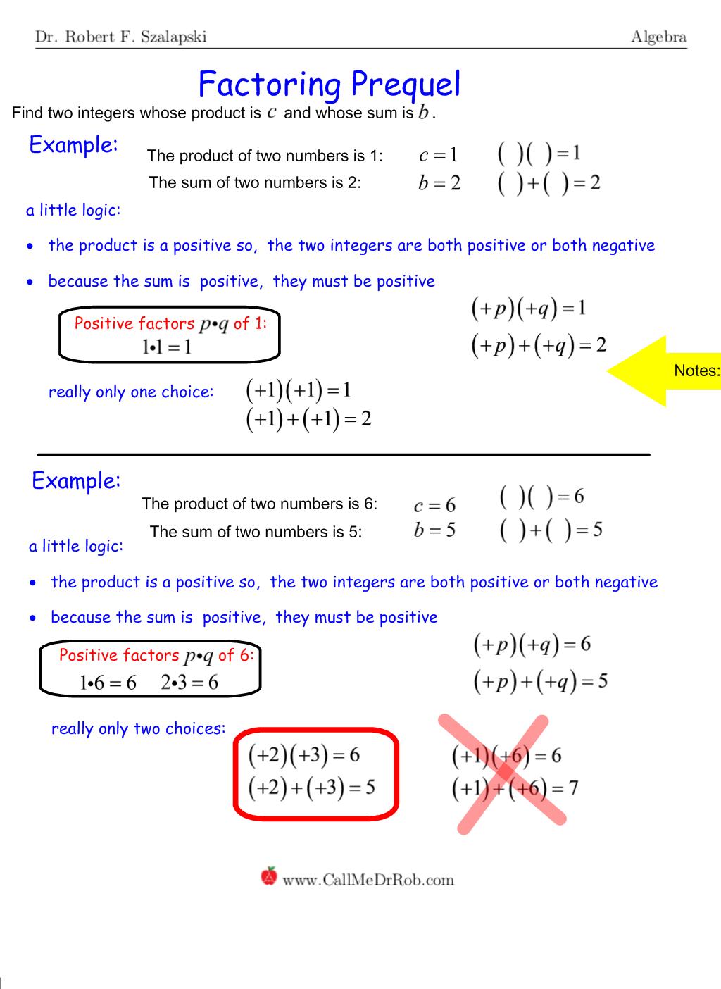 Prequel: Factoring Quadratic Trinomials With Unit Leading How To Factor  Quadratics With Leading Coefficient 1